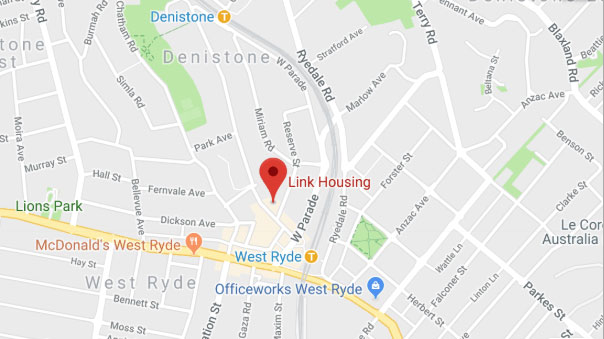 google maps of link housing location in west ryde
